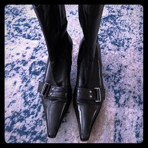 Black leather mid calf boot with buckle detail